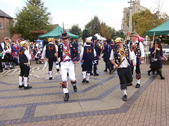 Morris dancing at Tring (Snapshooter46) Tags: morris dancers dancing men tring hertfordshire churchsquare costumes colourful traditional strawhats staves