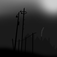 All that remains. (yamstar1) Tags: blackandwhite monochrome industrial remains houses posts fence