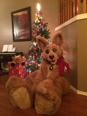 Hopper under the tree (skuffcoyote) Tags: fursuit mascot plush plushsuit christmas plushie fursuits kangaroo roo hopper skuffcoyote skuff coyote