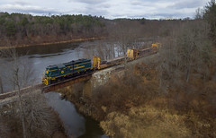 Maine Central heritage crossing Seven Mile Stream (Thomas Coulombe) Tags: panamrailways panam mainecentral mec52 emdgp9 gp9 wa2 freighttrain train vassalboro sevenmilestream kennebecriver bridge drone aerial dji phantom