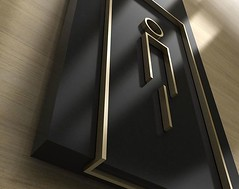 Acrylics WC sign with brass paint. (Creaprint) Tags: wc toilet signage wayfinding acrylic brass paint men directional