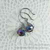 Orecchini wire herringbone - gunmetal & purple (Faerie Land Design) Tags: orecchini faerielanddesign earrings herringbone wire wirewrapped semipreciousstone crystals