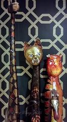 African-style artwork in Vive Hotel lounge (Victor Wong (sfe-co2)) Tags: indoor vive hotel lounge honolulu waikiki hawaii oahu low light usa decorative ornate africanstyle animals wildlife art artwork statues figure figurine