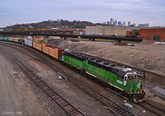 "BNSF and UP Trains in Kansas City, MO (""Righteous"" Grant G.) Tags: bnsf railway railroad bn burlington northern up union pacific train trains south southbound local freight manifest west westbound double doublestack container kansas city missouri intermodal emd power engine"