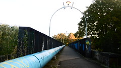Rowntree Railway / Foss Island Branch   old railway  (York) (dave_attrill) Tags: york rowntree line foss island disused railway trackbed confectionery industry closed cycle path footpath sustrans national network goods 1895 1988 october 2016 industrial piping bridge huntington road
