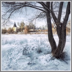 Winter in Borovsk. (odinvadim) Tags: mytravelgram paintfx textured textures iphone editmaster travel iphoneography sunset evening iphoneonly church painterly artist snapseed landscape photofx specialist iphoneart graphic painterlymobileart