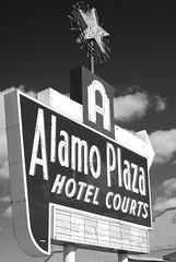Alamo Hotel_2 (squint photo) Tags: urbandecay fineartphotography blackandwhitephotography oakcliffdallas sonjaquintero squintphotography retrohotelsigns