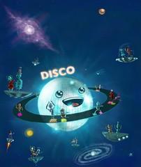 Planeta Disco (KOCH1NO) Tags: david art illustration digital painting disco dance revista robots lan estrellas niño estrella baile bot ilustracion galaxia discoteca planetas galaxias laneta kochino
