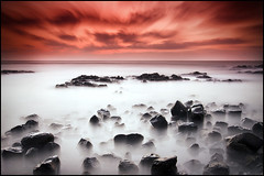 Veil (Sal Virji (Sal's Marine) on / off) Tags: ocean longexposure sunset sea bw sun india mist seascape beach water rock clouds landscape nikon rocks waterfront tok