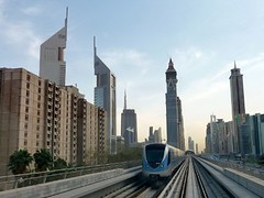 Dubai Metro, UAE - Futuristic driverless transportation amid skyscrapers, United Arab Emirates (Sir Francis Canker Photography ) Tags: world trip travel panorama storm tower tourism monument station skyline architecture night skyscraper twilight desert metro dusk muslim islam dune uae tracks middleeast railway landmark icon tourist best palm arabic emirates burjalarab transportation nocturna desierto arabian publictransport blitz grattacielo unitedarabemirates impressive futuristic