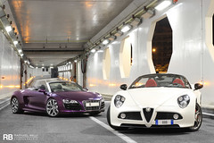 Monaco Tunnels (Raphal Belly) Tags: white paris car de french photography eos hotel spider photo shoot riviera photographie purple photoshoot 10 c violet 8 wrapped wrap casino spyder montecarlo monaco mc belly exotic v midnight 7d passion alfa romeo shooting bianca custom audi blanche raphael bianco blanc rb cylinders supercar spotting v10 customs supercars r8 raphal sance 8c principality shmee violette kik romo competizione shmee150 shmeemobile