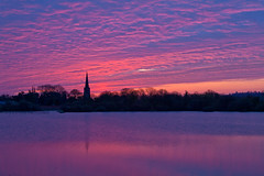 Nuclear Sunrise (Anthony P Smith) Tags: nottingham reflection church sunrise nuclear redsky attenborooughnaturereserve