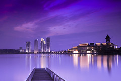 Waiting for Sunrise (hafizafraizal II) Tags: morning lake reflection building night sunrise photography purple malaysia putrajaya