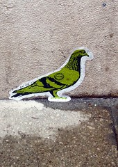 Green Pigeon Sticker (Lydie's) Tags: venice italy concrete stencil sticker limegreen pigeon label postmark