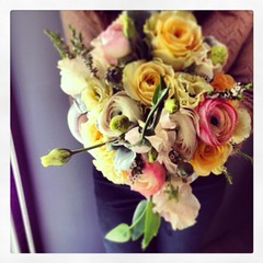 Sunset Bridal Bouquet (Christina Smith Floral) Tags: roses garden heather ranunculus sweetpea bouquet bridal