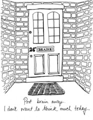 #144/365 (Rachel S Walsh) Tags: houses people blackandwhite black silly illustration typography funny drawing sleep cartoon doorway adobe type illustrator linedrawing feelings illustrate nosleep blackpen adrawingaday