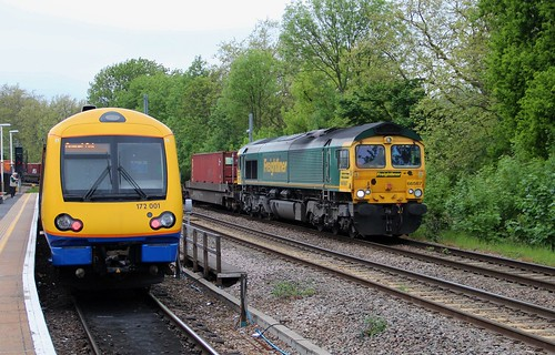 London Overground Class 172001 & Freightliner Class 66 66567, Gospel Oak, 22nd. May 2013.