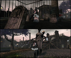 Hanging out (Aarya Phantomhive) Tags: cemetery grave skull gothic goth secondlife virtualworlds worldgothfair