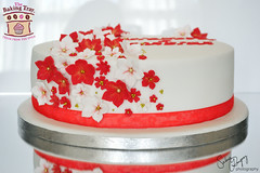 Red & White Floral Wedding Cake (The Baking Tray) Tags: flowers wedding red white floral cake redandwhite 2013 redwhiteweddingcake