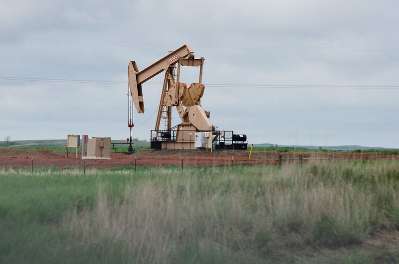 This oil rig was about 20 miles south of Theodore Roosevelt National Park's north unit. But you could see oil wells from the park, in certain places.