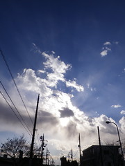 Cloudscapes #138 (tt64jp) Tags: blue light sky cloud sun white sol nature weather japan soleil solar ray shine cloudy gray wolke  nuage  utilitypole     nube   gunma  electricwire   kiryu