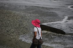 In The Pink! (Saumil U. Shah) Tags: world travel pink houses sea italy cliff woman color colour heritage tourism beach colors girl hat lady coast nationalpark seaside italian colorful flickr riviera italia colours five liguria tourist villages unesco hills coastal terre cinqueterre colourful monterosso towns cinque italianriviera worldheritage shah saumil saumilshah