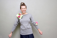 Knitted sweater with a fabric flower pin from Cloudberry Factory KA BLOOM 2013 Collection (CloudberryFactoryKnits) Tags: pink flowers summer white wool girl smiling grey sweater pin brooch knit artificial cloudberryfactory