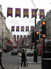 Celebrating queens 60 years coronation banners purple gold Regent Street London England 15th June 2013 republic 15-06-2013 17-44-54 (dennoir) Tags: