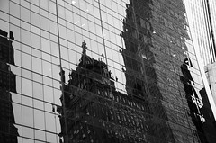 Reflecting on NYC DSC9766.Explored (iloleo) Tags: city nyc urban bw newyork detail reflection building architecture nikond7000