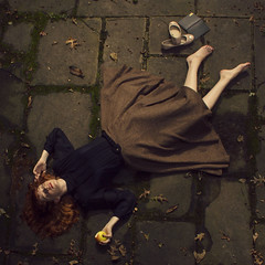 Fall Dreams (RachelMarieSmith) Tags: school portrait fall girl fashion mystery fairytale death redhead passion apples 365 schoolgirl 365project 365photo canon60d 52week 365photography