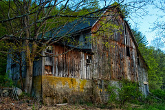 The Big Barn (SunnyDazzled) Tags: abandoned architecture barn rural wooden spring decay farm empty country weathered cinderblock delawarewatergap bankbarn