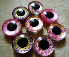 Handpainted custom Blythe eyechips - shades of pink