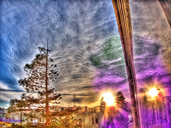 Psychic Sunset HDR (Walker Dukes) Tags: sf sanfrancisco california blue trees red sky urban orange black green yellow photoshop canon landscape gold experimental cityscape view purple violet photograph highdefinition vista sfbayarea onfire photomatix highdefinitionresolution canons95