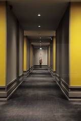 Exitnguisher (Elios.k) Tags: camera travel light red france color colour building travelling tourism sign yellow vertical canon fire photography grey hotel interior perspective corridor nopeople spot indoors end april walls exit extinguisher lorraine metz 2015 5dmkii