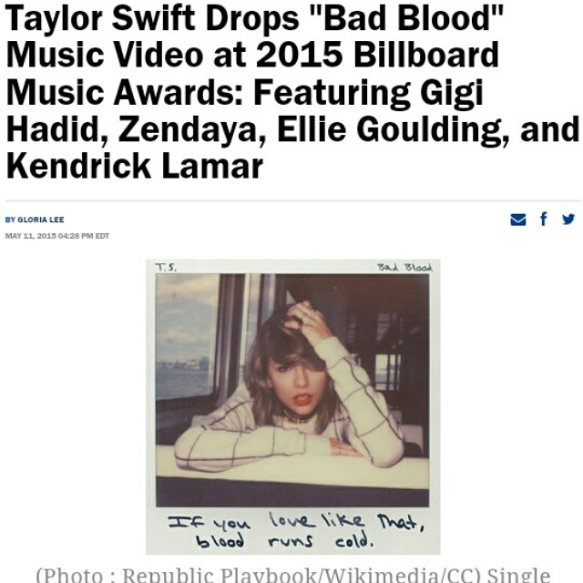 #TaylorSwift #badblood #gigihadid #kendricklamar #elliegoulding #zendaya #karliekloss #chdaily  read at http://www.christianitydaily.com/articles/3628/20150511/taylor-swift-s-bad-blood-music-video-features-10-celebrities.htm