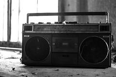 Boom box (BenChapmanphoto) Tags: music backlight cool fuji decay lincolnshire stereo 80s fujifilm boombox february cassette derelict urbex 2015 longsutton xpro1 fujifilmxpro1 xf27mmf28 27mmf28