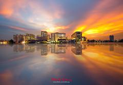 Siriraj Hospital Reflection in the sunset (Ratkung) Tags: city sunset red sky cloud reflection tower water skyline buildings hospital river thailand mirror pier cityscape riverside bangkok medical siriraj wanglang
