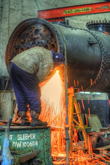 Steve working on the boiler of 41313 (Doddle Bug) Tags: 2 london heritage train engine scottish railway loco somerset class steam gas east cutting axe locomotive preserved mallet sparks esr boiler midland lms oxy acetylene cranmore shepton ivatt 41313 2mt