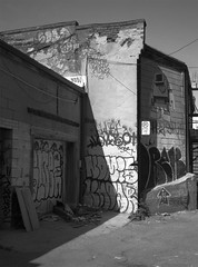In This Lane (geowelch) Tags: downtown toronto urbanfragments urbanlandscape urbandecay blackwhite 120 film mediumformat 645 fujigs645s portra400bw c41 laneway alley wallart epsonperfection4870photo