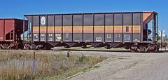 WFAX 84809 all steel 4-bay coal hopper-Sidney, Nebraska. (Wheatking2011) Tags: wfax western fuels association burlington northern railroad sidney nebraska all steel coal hopper 4 bay 35mm slide converted digital image