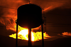 That Watertank Sunrise (Dawnsview) Tags: dawn dawnsview sunrise twilight daybreak tank watertank arizona adventure bright clouds colors city cityscape desert hiking k5 landscape light mountains morning nature outdoors orange pentax red river sky storm tucson unusual vista view water yellow z