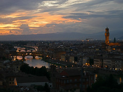 Sunset (terri-t) Tags: sunset florence firenze italy landscape piazzale michelangelo viewpoint vista river water arno tuscany palazzo vecchio dawn landschaft architecture dmmerung sky panorama