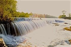 Llandaff Weir Rush of Water (edna.bucket) Tags: llandaffrowingclub rivertaff sunsetting canon waterfall