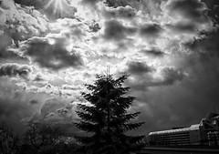 Drama in den Wolken (Oliver Christian) Tags: unwetter wetter wolkenbruch gewitter himmel wolken berlin weis schwarz drama kontrast