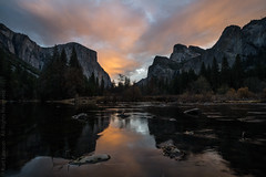 Sunrise at the Gates of the Valley (Kurt Lawson) Tags: california cathedralrocks clouds elcapitan gate merced national nevada park reflection river sierra sierranevada sunrise valley yosemite
