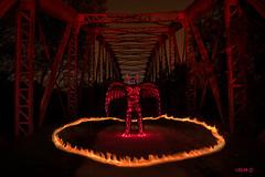 Strange demons in my head. (darklogan1) Tags: lighpainting red demon bridge fire ring madrid spain longexposure nightphotography logan darklogan1 halloween flames