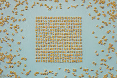 Word search (Ali Llop) Tags: pasta alphabet vegetarian italian meal natural many characters overhead view diet yellow wheat letter gourmet top abc uncooked soup abstract macro dinner eat culinary tasty healthy texture lunch cook ingredient nutrition health cooking pattern food product dry edible raw blue wordsearch