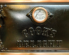 Cast iron oven door with thermometer (SteveMather) Tags: elmira cooksdelight wood electric gas range cookstove oldfashioned lehmans hardware appliances store nonelectric kidron dalton ohio interior items