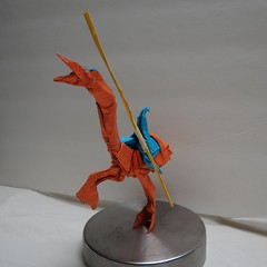 IOIO 2016 - Own Design - Joust video game - Knight riding Ostrich 3 (Tankoda) Tags: video game ostrich knight tissue foil origami no support one foot own design joust ioio 2016 lance