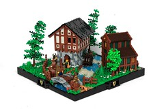 Avalonian Village (soccersnyderi) Tags: lego moc creation medieval village avalonian countryside river stream bridge stone house watermill water wheel roof wall technique design tree grass foliage fence rapids
